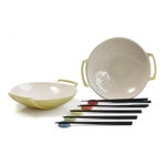 Le Creuset Soleil Yellow Stoneware Set of 2 Wok Dish Set with Chopstick Rests and Chopsticks