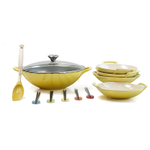 Le Creuset Soleil Yellow Enameled Cast Iron Wok with Stoneware Wok Dish Set and Serveware