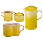 Le Creuset Soleil Yellow Stoneware 5 Piece Coffee Service Set with Mugs and Cream & Sugar Set