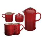 Le Creuset Cherry Stoneware 5 Piece Coffee Service Set with Mugs and Cream & Sugar Set