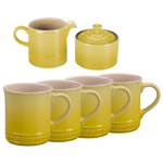 Le Creuset Soleil Yellow Stoneware 6 Piece Coffee or Tea Service Set with Mugs and Cream & Sugar Set