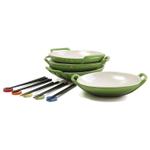 Le Creuset Palm Stoneware Set of 4 Wok Dish Set with Chopstick Rests and Chopsticks
