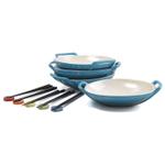 Le Creuset Caribbean Stoneware Set of 4 Wok Dish Set with Chopstick Rests and Chopsticks