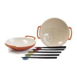 Le Creuset Flame Stoneware Set of 2 Wok Dish Set with Chopstick Rests and Chopsticks