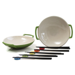 Le Creuset Palm Stoneware Set of 2 Wok Dish Set with Chopstick Rests and Chopsticks