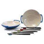 Le Creuset Marseille Blue Stoneware Set of 2 Wok Dish Set with Chopstick Rests and Chopsticks