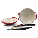Le Creuset Cherry Stoneware Set of 2 Wok Dish Set with Chopstick Rests and Chopsticks