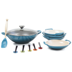 Le Creuset Caribbean Enameled Cast Iron Wok with Stoneware Wok Dish Set and Serveware