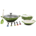 Le Creuset Palm Enameled Cast Iron Wok with Stoneware Wok Dish Set and Serveware
