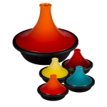 Le Creuset Flame Enameled Cast Iron 4.75 Quart Moroccan Tagine with 4 Mini Moroccan Tagines