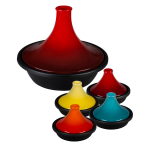 Le Creuset Cherry Enameled Cast Iron 4.75 Quart Moroccan Tagine with 4 Mini Moroccan Tagines