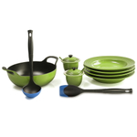 Le Creuset Palm Enameled Cast Iron 3 Quart Balti Dish Ultimate Service Set