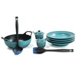 Le Creuset Caribbean Enameled Cast Iron 3 Quart Balti Dish Ultimate Service Set