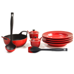 Le Creuset Cherry Enameled Cast Iron 1.75 Quart Balti Dish Ultimate Service Set