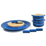 Le Creuset Marseille Blue Stoneware Cheese Serving and 4 Piece Tapas Dish Set