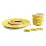 Le Creuset Soleil Yellow Stoneware Cheese Serving and 4 Piece Tapas Dish Set