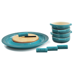 Le Creuset Caribbean Stoneware Cheese Serving and 4 Piece Tapas Dish Set