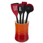 Le Creuset Flame Stoneware 1 Quart Utensil Crock with Revolution Cherry Utensil Set