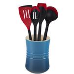 Le Creuset Marseille Blue Stoneware 1 Quart Utensil Crock with Revolution Cherry Utensil Set