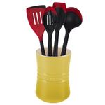 Le Creuset Soleil Yellow Stoneware 1 Quart Utensil Crock with Revolution Cherry Utensil Set