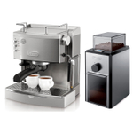 DeLonghi Black Stainless Steel 44 Ounce Pump Espresso Maker with Electric Conical Burr Grinder
