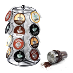 Nifty Home Products Chrome 24 Pod K-Cup Carousel with Brown 8 Ounce Cocoa Powder Shaker