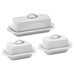 Chantal Glossy White Stoneware 3 Piece Traditional and Mini Butter Dish Set