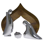 Nambe Spiritual 4-Piece Nativity with Wooden Creche