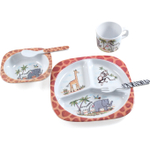 Safari Collection Non-Toxic Melamine Kids' 5 Piece Dish Set