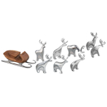 Nambe 9 Piece Metal Alloy Sleigh and Reindeer Set