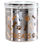 Oggi Paws and Bones Satin Finish Stainless Steel 130 Ounce Treat Jar