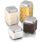 Anchor Hocking Glass Square Canister with Stainless Steel Lid, Set of 4