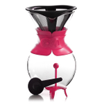 Bodum Pour Over Fuchsia 34 Ounce Coffee Maker with Permanent Filter