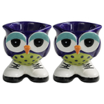 Grasslands Road Blue Hand Painted Stoneware Owl Egg Cup, Set of 2