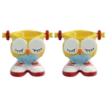 Grasslands Road Yellow Hand Painted Stoneware Owl Egg Cup, Set of 2