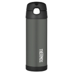 Thermos Funtainer Charcoal Stainless Steel Vacuum Insulated 16 Ounce Water Bottle
