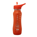 Eco Vessel Surf Sport Glass 22 Ounce Bottle with Orange Slice Silicone Sleeve and Flip Straw Lid