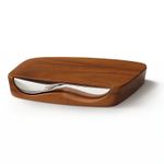 Nambe Blend Stainless Steel 7 Inch Knife with Acacia Wood Bar Board