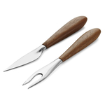 Nambe Curvo Stainless Steel and Acacia Wood 2 Piece Cheese Knife and Fork Set