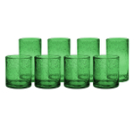 Artland Iris Green Seeded 8 Piece Double Old Fashioned Glass and Highball Tumbler Set