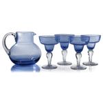 Artland Iris Seeded Slate Blue 5 Piece Hand Blown Glass 2.8 Quart Pitcher and Margarita Glass Set