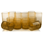 Artland Iris Amber Seeded 12 Piece Double Old Fashioned Glass and Highball Tumbler Set