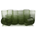 Artland Iris Sage Seeded 12 Piece Double Old Fashioned Glass and Highball Tumbler Set