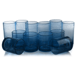 Artland Iris Slate Blue Seeded 12 Piece Double Old Fashioned Glass and Highball Tumbler Set
