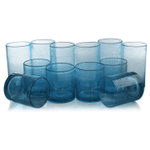 Artland Iris Turquoise Seeded 12 Piece Double Old Fashioned Glass and Highball Tumbler Set