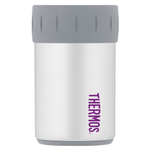 Thermos White with Purple Accents Stainless Steel 12 Ounce Beverage Can Insulator