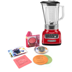 KichenAid 5-Speed 56 Ounce Empire Red Die Cast Metal Blender with Free Smoothie Recipe Book