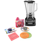 KichenAid 5-Speed 56 Ounce Onyx Black Die Cast Metal Blender with Free Smoothie Recipe Book