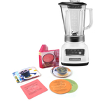 KichenAid 5-Speed 56 Ounce White Die Cast Metal Blender with Free Smoothie Recipe Book