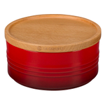 Le Creuset Cherry Stoneware 23 Ounce Canister with Wooden Lid